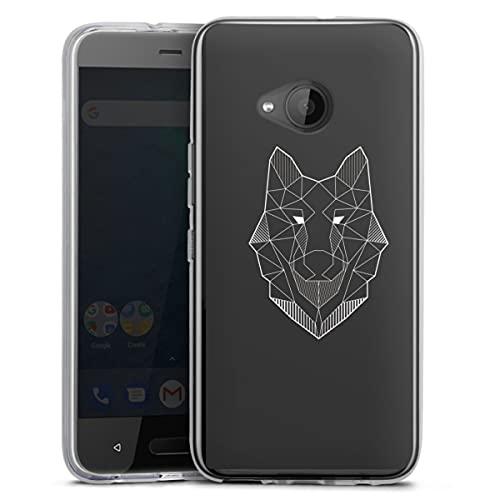 DeinDesign Silikon Hülle kompatibel mit HTC U11 Life Hülle transparent Handyhülle Wolf Line Art Linien