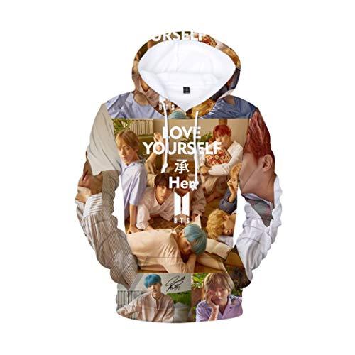Xsayjia Unisex BTS 3D gedruckte Hoodies mit Langen Ärmeln Teen Pullover Sweatshirt Jumper Kpop Bangtan Boys Jin Suga J-Hope Rap Monster Jimin V Jung Kook 3D Sweaters