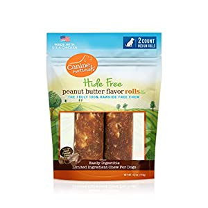 Canine Naturals Natural Peanut Butter Chew – 4″ Medium Roll – 2 Pack | 100% Rawhide Free and Collagen Free Dog Treats | Made with Real Peanut Butter | All-Natural and Easily Digestible