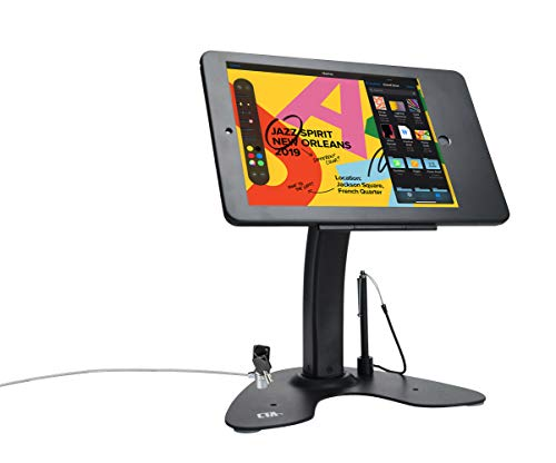 CTA Digital: Dual Security Kiosk Stand with Locking Case and Cable for iPad 10.2-Inch (7th & 8th), iPad Air 3 (2019) and iPad Pro 10.5, Black