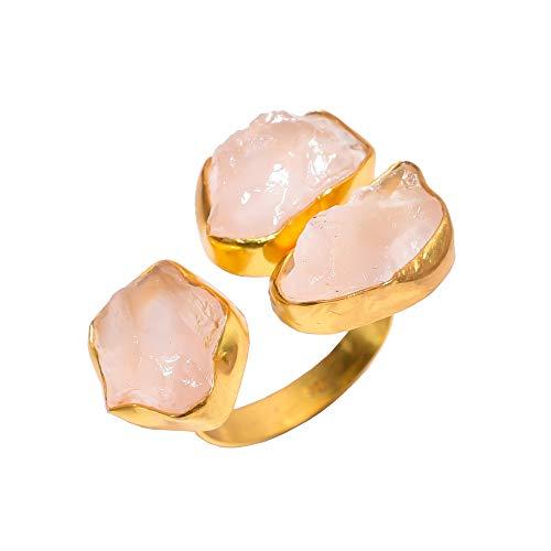 925 sterling zilver vergulde ring maat UK S verstelbaar, natuurlijke ruwe rozenkwarts handgemaakte vrouwen sieraden RSGR323