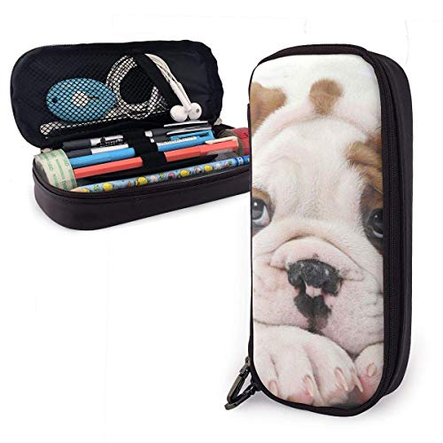 Astuccio portamatite in cuoio PU per cuccioli Bulldog Dog, borsa porta penne di grande capacità, durevoli organizer per cancelleria per studenti