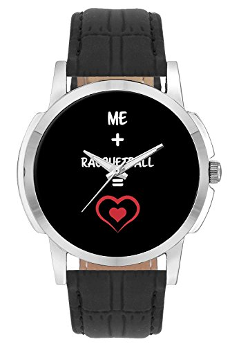 Wrist Watch for Men - Me and Racquetball Equals Love - Analog Men's and Boy's Unique Quartz Leather Band Round Designer dial Watch