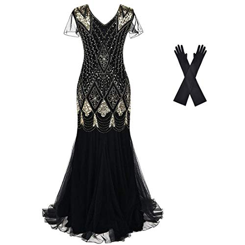 Women Evening Dress 1920s Flapper Cocktail Mermaid Plus Size Formal Gown with Long Gloves Black Gold (Apparel)
