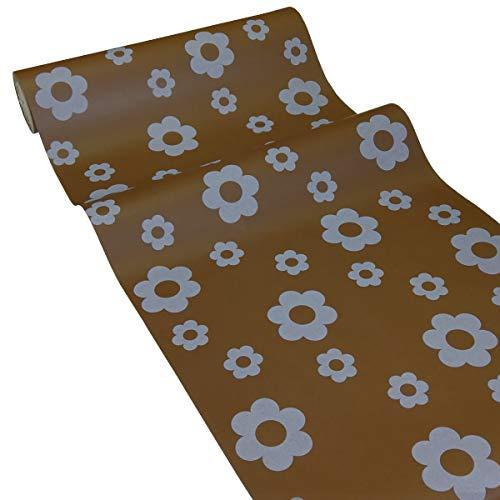JUNOPAX Chemin de Table 50m x 0,40m de Papier, Fleur Brune, étanche – essuyage Humide