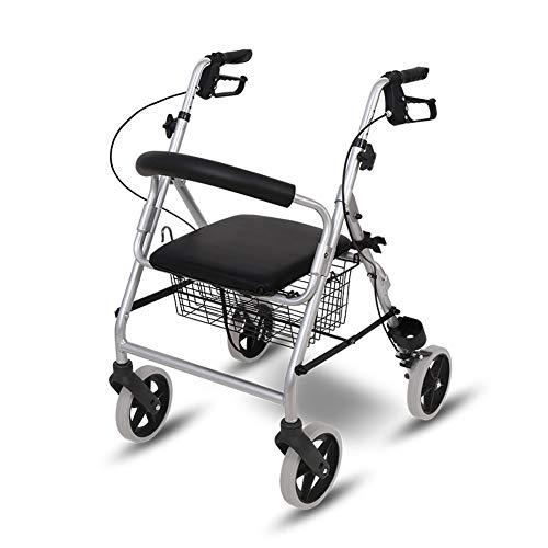 SXFYMWY Faltbare Walker Leichte Aluminiumlegierung Multifunktions verstellbar mit PU-Kissen und Einkaufskorb Old Man Trolley