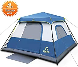 QOMOTOP 6 Person Instant Cabin Tent, 60 Seconds Easy Set Up, Tents for Camping Waterproof Provide Top Rainfly, Cabin Tent Advanced Venting Design, with Electrical Cord Access Port and Gate Mat- QTIC0