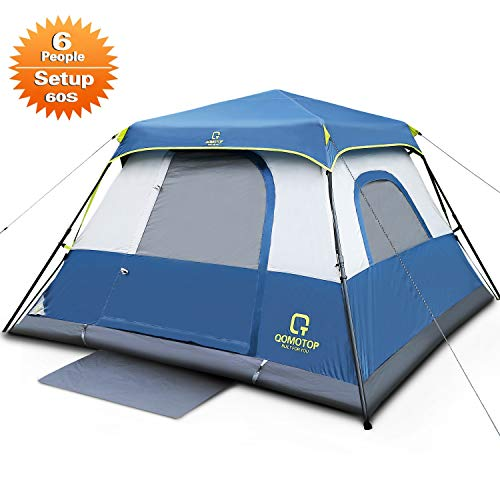 QOMOTOP 6 Person Instant Cabin Tent, 60 Seconds Easy Set Up, Tents for Camping Waterproof Provide Top Rainfly, Cabin Tent Advanced Venting Design, with Electrical Cord Access Port and Gate Mat- QTIC06