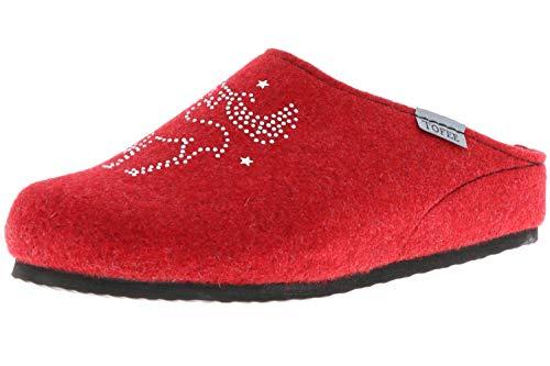 TOFEE Damen Hausschuhe Pantoffeln Naturwollfilz Rentier rot, Größe:37, Farbe:Rot
