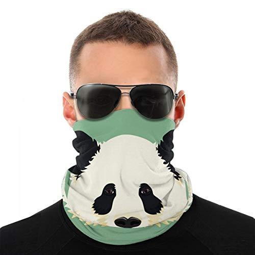 QWERDF Dibujos Animados Lindo Panda Gigante Cara Blanco y Negro Oso asitico Estampado Hombres y Mujeres mascarilla Cuello Calentador de Cuello Polaina para Motociclismo