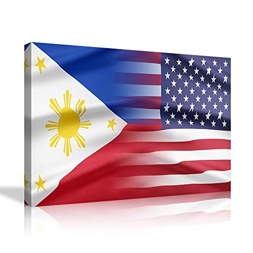 Philippines and USA Flag Wall Art Canvas Prints Filipino Philippine National Flags Home Decor for Living Room Office Bedroom Pictures Posters Painting Framed Ready to Hang