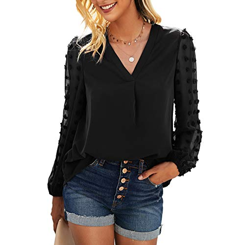 Vertvie Bluzki damskie z długim rękawem, elegancka tunika z wycięciem w kształcie litery V, na czas wolny, na lato, dla kobiet