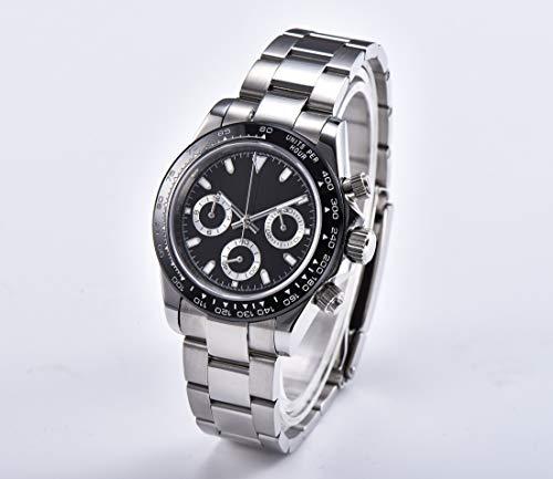 KLMWDSB Horloge Heren Japanse Chronograaf Nieuwe Quartz Beweging 39mm Saffier Crystal Sterile Wijzerplaat Armband Staal Keramische Bezel
