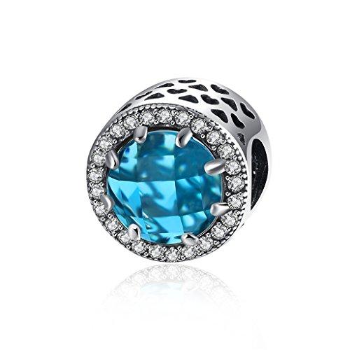 Hmilydyk, charm in argento 925 con cristalli Swarovski Eement e zirconia cubica, adatto a braccialetti Pandora e Argento, colore: Blu, cod. GUPDRSVP140-B