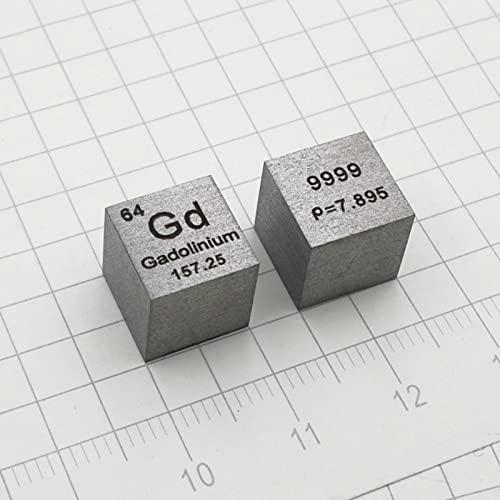 TWY Cubo metálico de gadolinio de 10 mm, 99,9% 7.93 g, Mesa periódica grabada Materiales para experimentos de Laboratorio