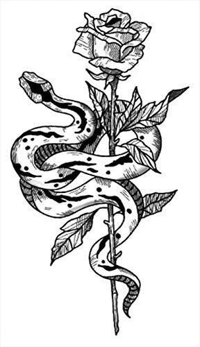 Tatuajes temporales rosas y serpientes para hombre y mujer, tatuaje temporal, para brazos, piernas, pantorrillas, brazos, cuello, 10,5 x 6 cm