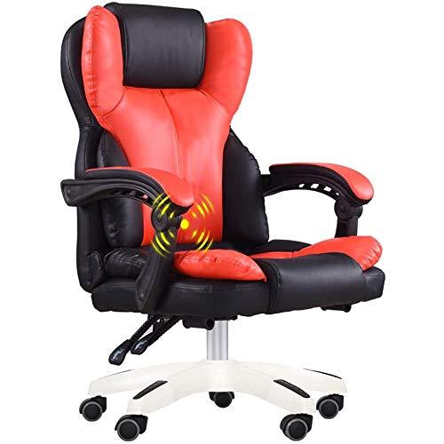 LQRYJDZ Silla de Oficina Escritorio de Juegos Silla giratoria de Servicio Pesado for sillas de diseño ergonómico con 7 Puntos de Masaje reclinable cómodo, Hogar Muebles de Oficina (Color : Red)