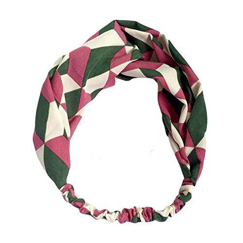 Vert / rose Couleur contrastée Nylon Head Wrap Headband Vintage bande élastique cheveux