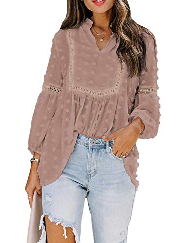 Modasua Damen Bluse Langarmshirt Langarm Sweatshirt Chiffon Einfarbig Vintage Spitze Bluse Tops Hemd Lose Oberteile V-Ausschnitt T-Shirt Tunika Elegant mit Ballonärmeln