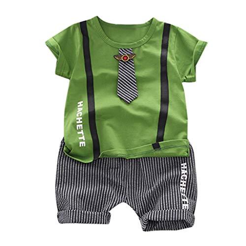 Julhold Kids Baby Boy Fashion Leisure Gentleman - Camiseta de algodón y pantalones cortos de rayas Verde verde 18-24 Meses