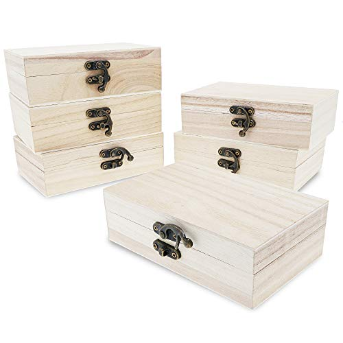 Unfinished Wooden Jewelry Box with Locking Clasp (5.9 x 3.9 x 1.97 In., 6-Pack)