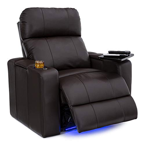 Seatcraft Julius Home Theater Seating Big & Tall 400 lbs Capacity - Top Grain Leather - Power Recline - Powered Headrest - USB Charging - Lighted Cupholders and Base (Single Recliner,Brown)