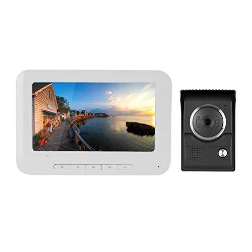 Videoportero,7 Pulgadas IR TFT-LCD Color HD Infrarrojo Visión Nocturna,Videoportero Monitor Vigilancia Timbre 100-240V,Diseño Resistente a la Lluvia y Llamada de Un Toque(EU Plug)