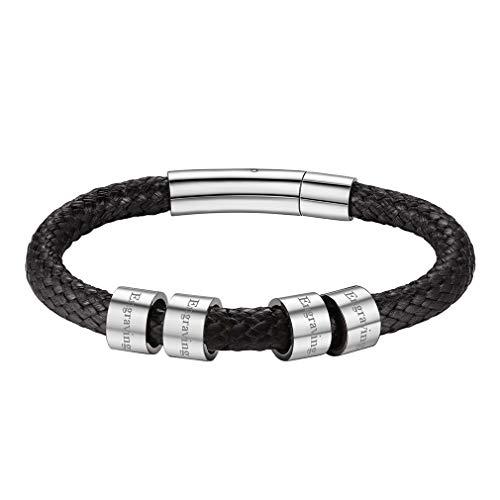FaithHeart Pulsera Negra Hombre 4 Beads con Nombres Personalizados Regalo para Amigos y Novios Cadenas Cortas de Cordones Encerados 20cm