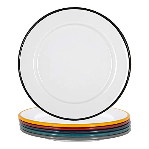 Argon Tableware Weiße Emaille-Seitenplatten - Stahl Outdoor-Camping-Geschirr Geschirr - 20 cm - 6 Farben