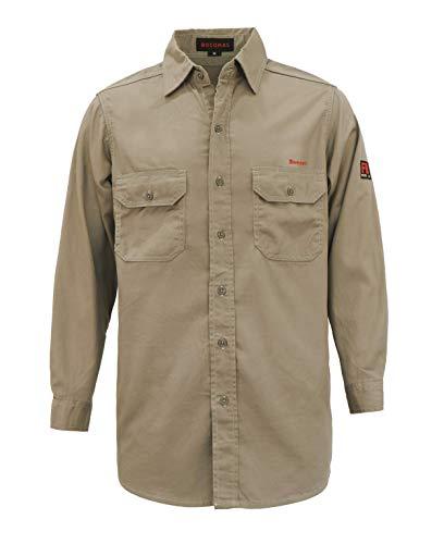 BOCOMAL Welding Shirts 88% Cotton /12% Nylon Twill Flame Resistant/Fire Retardant Shirt 7oz Khaki Men