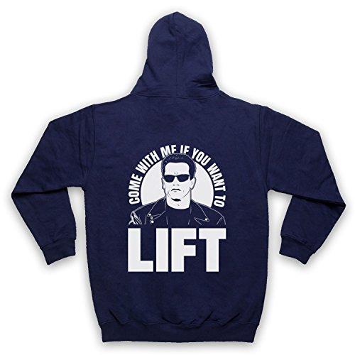 Arnold Schwarzenegger Come with Me If You Want to Lift Sweat a Capuche avec Un Fermeture Eclair des Adultes, Bleu Fonce, 2XL