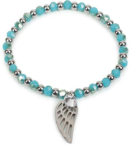 styleBREAKER Pulsera de Perlas de Acero Fino de Mujer con Colgantes «Charm» en Forma de alas y estrás, elástico, Pulsera de Bolas, bisutería 05040156, Color:Turquesa-Plata