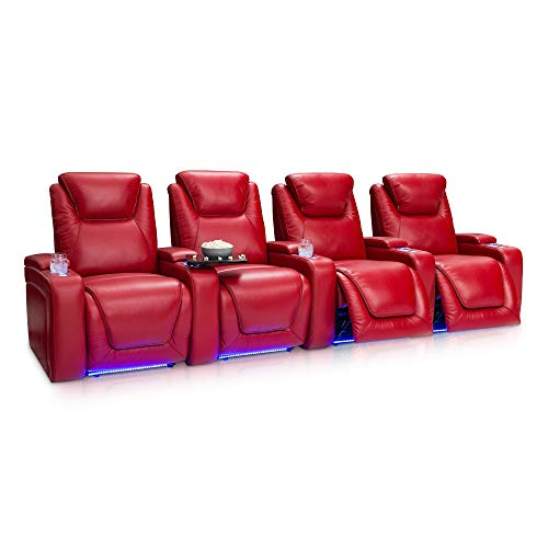 Seatcraft Equinox Home Theater Seating - Top Grain Leather - Power Recline - Power Headrest - Power Lumbar - USB Charging - in-Arm Storage - SoundShaker - Lighted Cup Holders (Row of 4, Red)