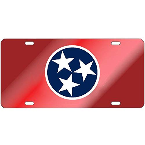 Fhdang Decor Tennessee Volunteers Red Tri-Star License Plate Aluminum License Plate, Front License Plate, Vanity Tag 4 Holes Auto Tag Car Accessories 6' X 12'