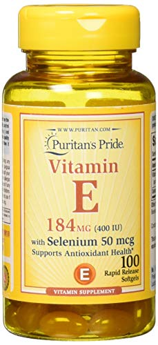 Puritan's Pride Vitamin E-400 IU with Selenium 50 mcg 100 softgels