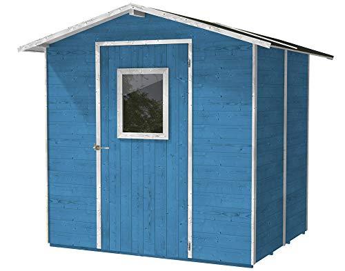 Houten huisje, lichtblauw voor gereedschappen met deur en raam, 200 x 16 x 214 cm