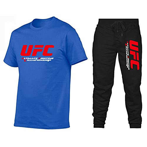 ZHSNG UFC Europäische und amerikanische Kämpfe Ultimate Kämpfe Kurzarm T-Shirt Casual MMA Herren T-Shirt Sporthosen Set MMA Fan Geschenk Blue-XXL