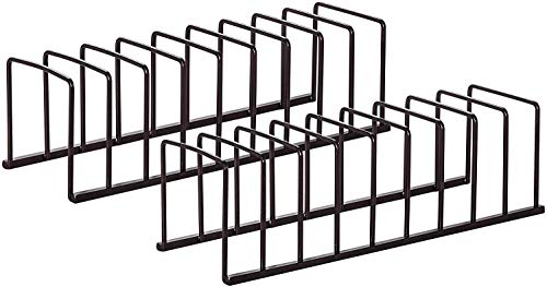 STORAGE MANIAC 2-Pack Kitchen Pot Lid Holder Tray Rack Plate Holder Pan Lid Rack Cutting Board Holder Cabinet Cupboard Countertop Container 9 Slots for Steel Storage Rack with Divider for Dinnerware Cookware Bronze