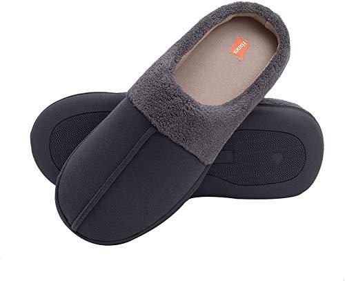 Hanes boys Clog House Shoe With Indoor Outdoor Memory Foam Sole Fresh Iq Odor Protection Slipper, Navy/Grey, Medium Little Kid US