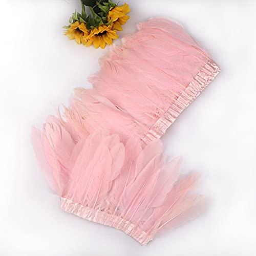 LINGP 2 Yardas Coloridas Plumas de Ganso Recortar Flecos Vestido Falda decoración Gansos Pluma Cinta Costura Manualidades