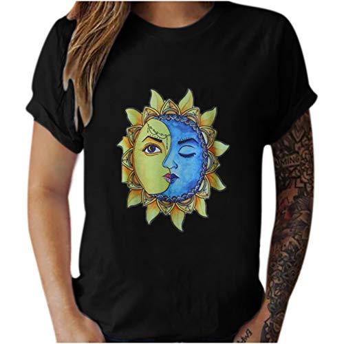 FOTBIMK Blusa de manga corta para mujer, estilo vintage, con estampado de sol y luna, informal, de manga corta, para hombre y mujer