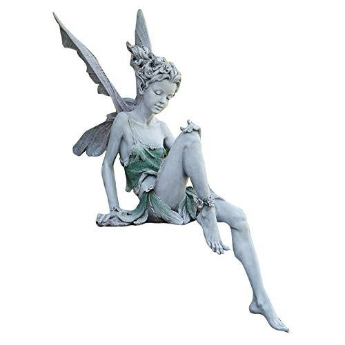 Zuoox Elfen Figur 18 cm, Sitzende Fee Figur mit Flügeln, Gartendeko Figuren aus Hochwertigem Harz, Magische Fee im Freien Garten Ornament, Sitzen Fee Statue Garten Ornament