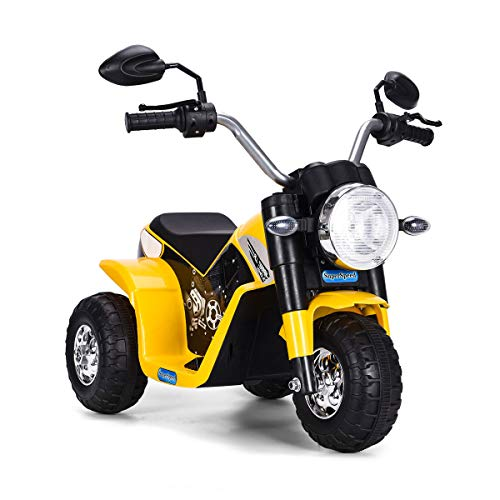 COSTWAY 6V Elektro Motorrad mit Scheinwerfer und Hupe, Kindermotorrad Dreirad, Elektromotorrad, Kinderfahrzeug 3-4 km/h für Kinder ab 3 Jahren (Gelb)