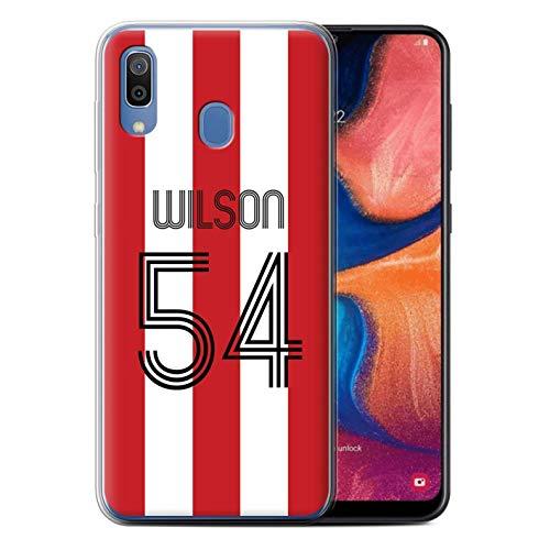 Personalizado Kit Camiseta Club Fútbol Personalizar Funda TPU/Gel para el Samsung Galaxy A20/A30 2019 / Rayas Blancas Rojas...