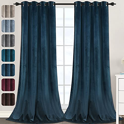 Luxury Velvet Curtains for Living Room 108 Inches Room Darkening Super Thick Soft Velvet Textured Window Curtain Drapes Thermal Insulated Grommet Decoration 2 Panels, Each 52 x 108 Inch, Navy