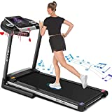 """SYTIRY Treadmill with Screen,Treadmills for Home with 10"""" HD tv Touchscreen&WiFi Connection,3.25hp Motor,Folding Exercise Equipment Machine with Workout Program,Hydraulic Drop,Heart Rate Sensor"""