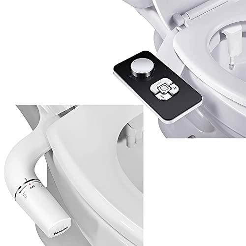 Bidet Attachment - SAMODRA Non-electric Cold Water Bidet Toilet Seat Attachment with Pressure Controls,Retractable Self-cleaning Dual Nozzles for Frontal & Rear Wash(2 Pack)