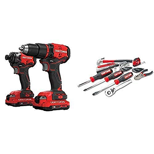 CRAFTSMAN V20 Cordless Drill Combo Kit, 2 Tool with Mechanics Tools Kit/Socket Set, 57-Piece (CMCK210C2 & CMMT99446)