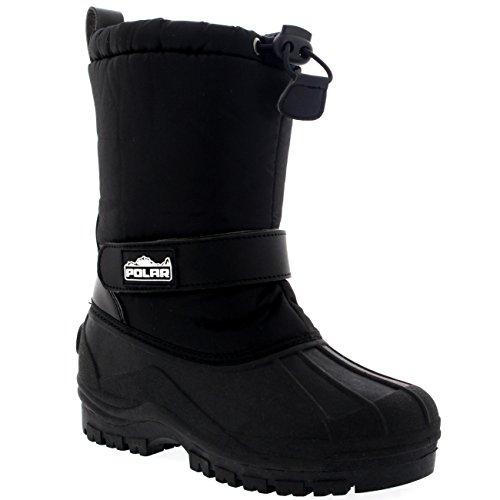 Unisexo Niños Ponerse Cordón Cierre Nylon Nieve Lluvia Botas De Piel - BLK36 - AYC0154