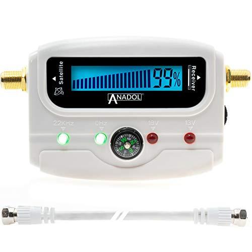 Anadol SF33 White LCD digitaler Satfinder - Satelliten Messgerät Justierung von Antennenschüsseln & Flachantennen - Digitale Leuchtanzeige, Signalton, Verbindungskabel + deutsche Bedienungsanleitung